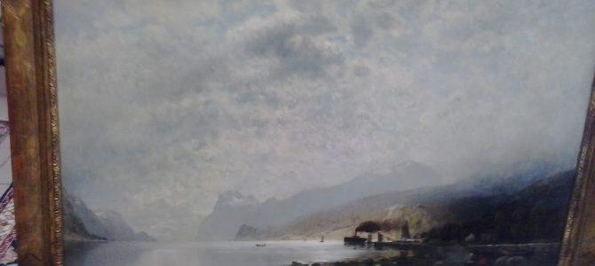 Schweitzer, Adolf Gustav (1847-1914). Norwegische Fjordlandschaft mit Fischerdorf