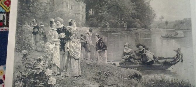 """Angebot des Tages: Kupferstich """"Reception au Chateau"""" von 1888"""