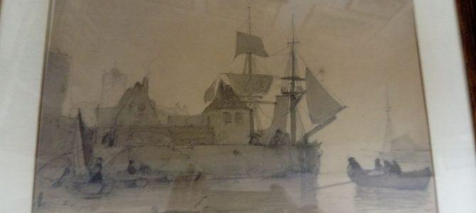 Original Bleistiftzeichnung über Sepia von Andreas Achenbach