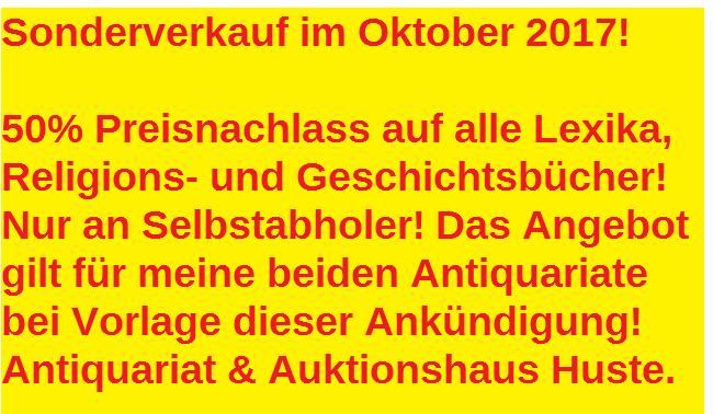 Sonderverkauf im Oktober! 50% Preisnachlass auf alle Lexika, Religions- und Geschichtsbücher!