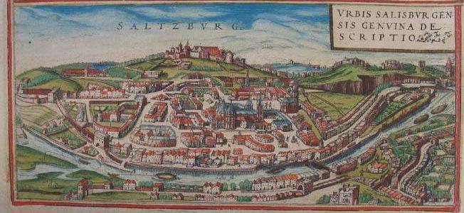 """Kupferstich """"Saltzburg"""" Braun und Hogenberg"""