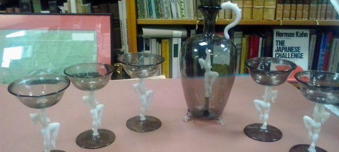 Lauscha Bimini Likör Set, Frauenakt, 5 Gläser+ 1 Karaffe, Art Deko 30er