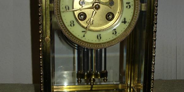 Französische Glaspendule Uhr um 1880