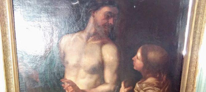 "Prachtvolles Gemälde, Öl auf Leinwand, Motiv ""Jesus und Magdalena"", gemalt um 1630/40"