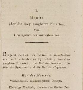 """Erstdruck von Samuel Hahnemann """"Monita über die drey gangbaren Kurarten"""""""