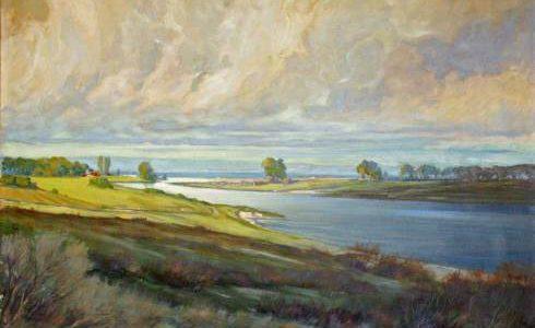 Gemälde von Ernst Meurer (1883 – 1956). Flußlandschaft, Öl auf Leinwand, 120 x 95 cm, signiert, ca. 1943